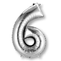 Number 6 Silver Foil Balloon 83cm