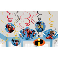 Incredibles 2 Party Supplies Hanging Swirls Decorations 12 Pack