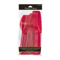 Apple Red Party Supplies Assorted Plastic Cutlery 24 Pack