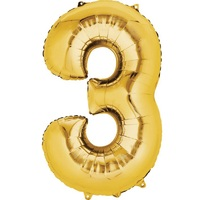 Metallic Gold Number Foil Balloon 86cm Number 3