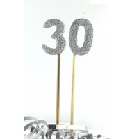 Silver Glitter Party Supplies - Number 30 Silver Glitter Candles 4cm on sticks