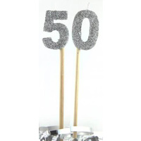 Silver Glitter Party Supplies - Number 50 Silver Glitter Candles 4cm on sticks
