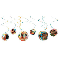 Moana Party Supplies - Spiral Hanging Swirl Decorations 6 Pack