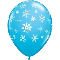 Frozen Party Supplies Blue & White Snowflake 28cm Latex Balloon