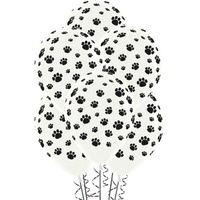 Animal Paw Print Latex Balloons 12 Pack 28cm Approx