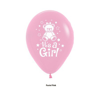 Baby Girl Party Supplies - It's a Girl Teddy Pastel Pink Balloons