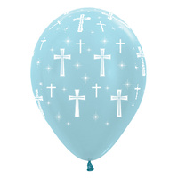 Baptism Party Supplies Holy Cross Pearl Blue Balloons