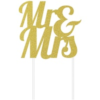 Wedding Party Supplies Gold Glitter Mr & Mrs Cake Topper