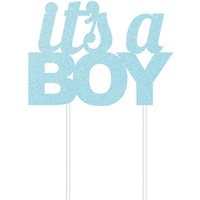 "Boys Baby Shower Party Supplies Blue Glitter ""It's a Boy"" Cake Topper"