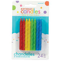 Birthday Party Supplies Spiral Glitter Candles Primary Colours Red Blue Green Yellow 24 Pack
