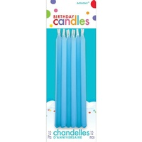 Birthday Party Supplies Blue Tapered Candles 12 Pack