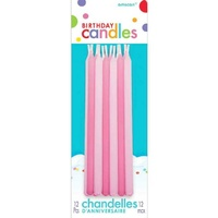 Birthday Party Supplies Pink Tapered Candles 12 Pack