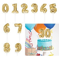Gold Self-Inflating Balloon Cake Toppers 0 - 9 You Choose Number