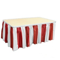 Circus Party Striped Red & White Table Skirt