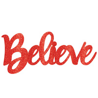 Christmas Believe Sign Red Glittered Photo Prop