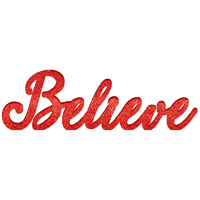 Christmas Believe Standing Sign Red MDF Glittered