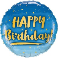 Gold and Blue Happy Birthday Foil Round Balloon 46cm Approx
