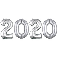 2020 New Year Silver Foil Balloons 86cm Each x4 Balloons