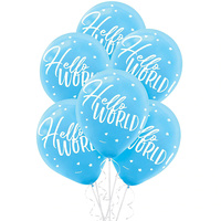 Oh Baby Boy Hello World Latex Balloons 15 Pack