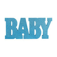Baby Shower Boy Standing MDF Blue Glittered Sign Baby