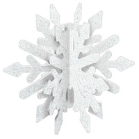 Snowflake Blue & Gold Glittered MDF 3D Decoration