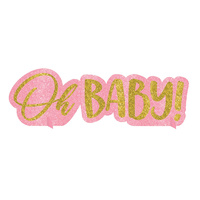 Oh Baby Girl Glittered Centrepiece Table Sign