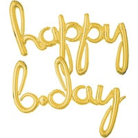 "Script Balloon Phrase ""Happy Bday"" Gold Foil Balloons"