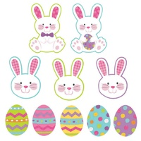 Easter Mini Eggs & Bunny's Assorted Cutouts Glittered 10 Pack