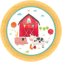 Farm Barnyard Birthday Round Cake Lunch Dessert Paper Plates 8 Pack