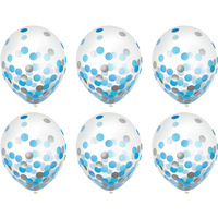 Blue & Silver Confetti Latex Balloons 30cm approx 6 Pack