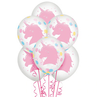Magical Rainbow Unicorn Birthday Balloons with Confetti 6 Pack
