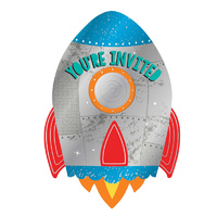 Space Blast Off Rocket Birthday Postcard Invitations x8 Pack