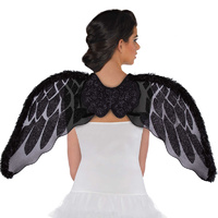 Angel Wings Black Marabou Faux Fur - Costume Accessory