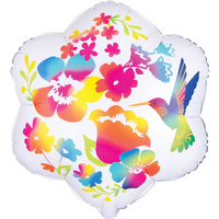 Watercolour Flowers & Hummingbird Shape XL Satin Infused Foil Balloon