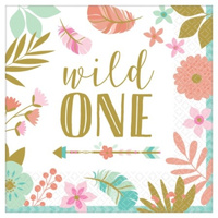 Boho Birthday Girl Lunch Napkins Wild One 16 Pack