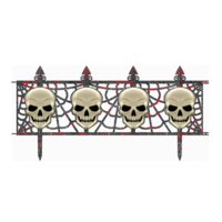 Halloween Skull Fence Decorations Multi Pack x2