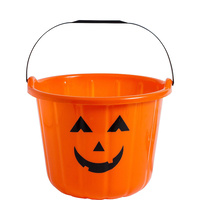 Halloween Pumpkin Bucket Favour Treat Container Plastic x1