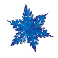 Christmas Snowflake Metallic Blue Hanging Decoration