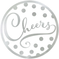 Cheers Silver Coasters Foil Hot Stamped 18 Pack