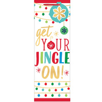 Christmas Get Your Jingle On Bottle Bag & Gift Tag Foil Hot Stamped x1