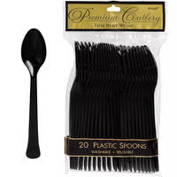 Amscan Jett Black Party Supplies Spoons 20 Pack