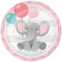 Enchanting Elephant Pink Dinner Plates Paper 8 Pack
