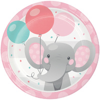Enchanting Elephant Pink Lunch Plates Paper 8 Pack