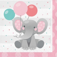 Enchanting Elephant Pink Lunch Napkins 16 Pack