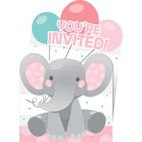 Enchanting Elephant Pink Invitations Pop-Up 8 Pack