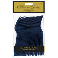 Navy Blue Plastic Forks 20 Pack