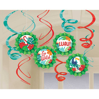 Tropical Jungle Hanging Glittered Fans & Swirls Decorating Kit 12 Pack