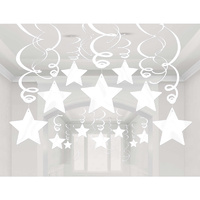 Shooting Stars Plastic Mega Value Pack Swirl Decorations Frosty White 30 Pack