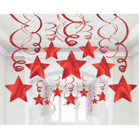Shooting Stars Foil Mega Value Pack Swirl Decorations Apple Red 30 Pack
