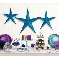 Sparkling Sapphire 3D Star Hanging Decorations 3 Pack